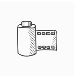 Camera roll sketch icon vector