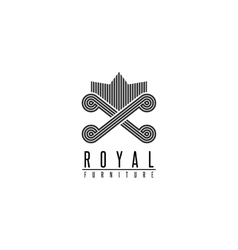 Furniture logo chair monogram form throne back vector