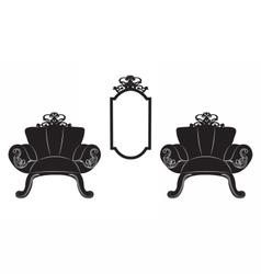 Elegant baroque luxury ornamented furniture set vector
