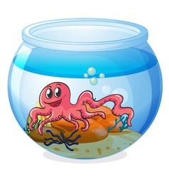 An octopus inside an aquarium vector image