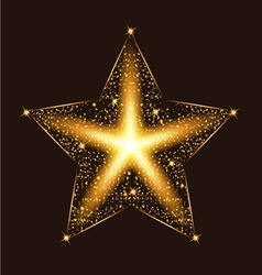 Gold glow glitter star with particles light vector