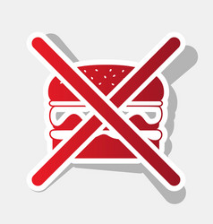 No burger sign  new year reddish icon with vector