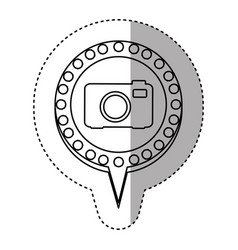 Monochrome sticker with analog camera and circular vector