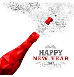 Happy new year red champagne bottle low poly vector