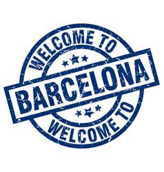 Welcome to barcelona blue stamp vector