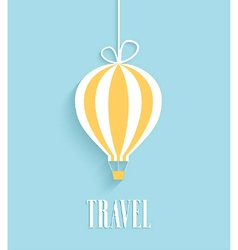 Travel card with hanging air balloon vector