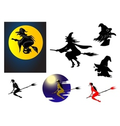 Set of halloween witches vector