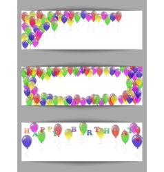 Set of greeting horizontal banners happy birthday vector