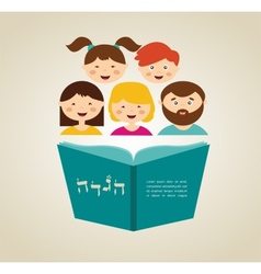 Family reading hagada book at passover holiday vector