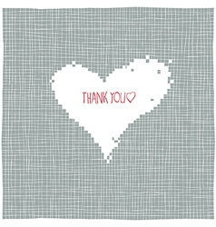 thank you heart shaped background vector image