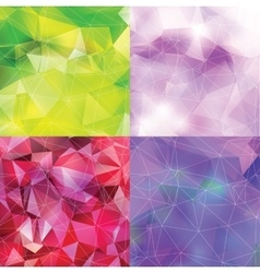 Abstract triangle backgrounds set vector