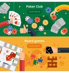 Gambling games flat banners set vector