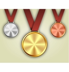 Set of gold silver and bronze medals vector