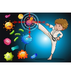 Man in karate uniform kicking bacteria vector