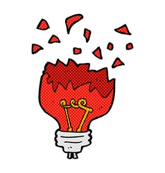 Comic cartoon red light bulb exploding vector