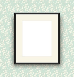 Blank picture frame on vintage style wallpaper vector