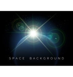 Space background with planet and shining star vector