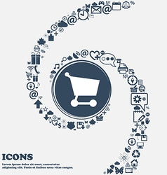 Shopping basket icon sign in the center around the vector
