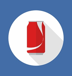 Cola tin flat icon vector