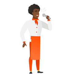 african-american chef cook singing to microphone vector image vector image