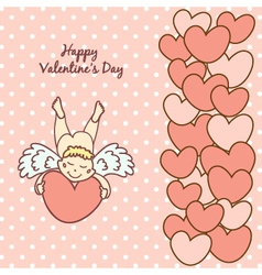 card Happy Valentines Day with a cute cupid vector image vector image