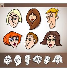 cartoon people heads set vector image vector image