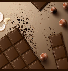 Chocolate bar with nuts vector
