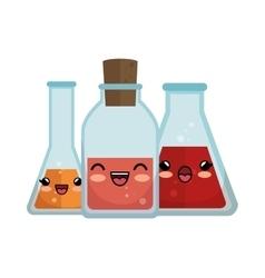 Collection cute kawaii transparent flasks vector