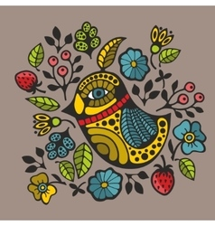 Colorful print with decorative bird and flowers vector