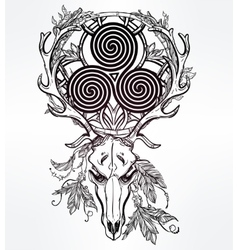 Deer skull with celtic triskel vector