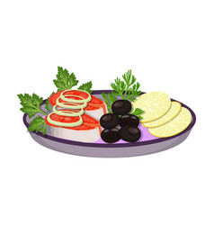 eating fish and salad eating and cooking single vector image