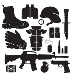 equipment soldier set vector image vector image