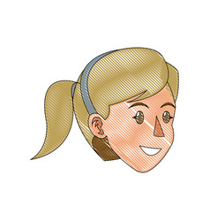Face woman head blonde ponytail draw vector