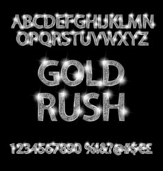 Gold rush silver alphabetic fonts and numbers vector