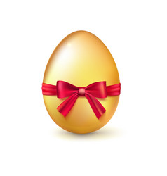 Golden easter egg with red ribbon and bow vector
