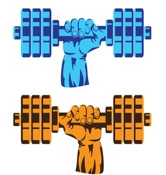 hand with dumbbell vector image vector image
