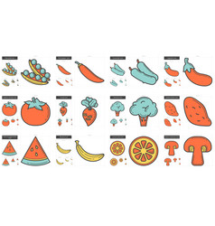 Healthy food line icon set vector