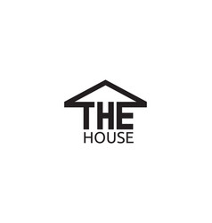 house text with roof logo design template vector image