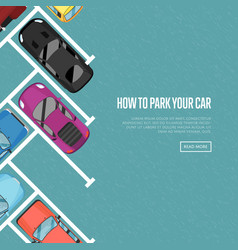 how to park your car poster in flat style vector image vector image