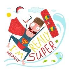 Kitesurfing caricature superman character happy vector