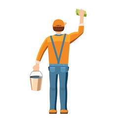 Man cleaning with bucket and sponge back view icon vector