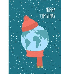 Merry Christmas Planet Earth winter Knitted scarf vector image vector image