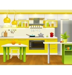 Modern kitchen interior design vector