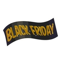 Ribbon black friday icon cartoon style vector