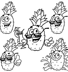 set cartoon character - Happy pineapple Outline on vector image vector image