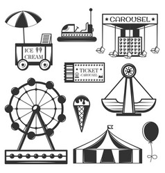 set of amusement park isolated icons and vector image vector image