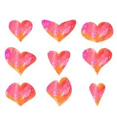 Set of beautiful watercolor hearts vector image