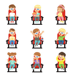 Set of cute little kids in 3d-glasses vector