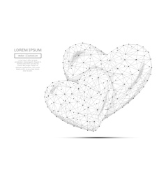 two hearts low poly gray vector image vector image