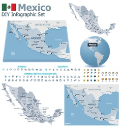 United Mexican States maps with markers vector image vector image